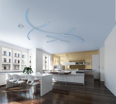 Modern design kitchen interior with golden wall